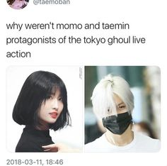 I love Tae's hair it suit him so well i want to do my hair like that too and Momo looking gorgeous as always 😊💖 Jonghyun, Shinee, Tokyo Ghoul Live Action, Fandom Kpop, All About Kpop, Funny Kpop Memes, Music Memes, Korean Music, Reaction Pictures