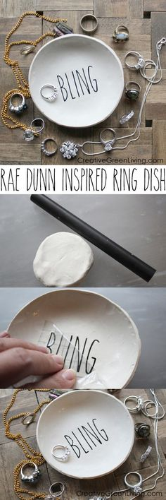 How to make a DIY Rae Dunn Inspired ring dish. You can get the Rae Dunn look at home with this DIY tutorial! It