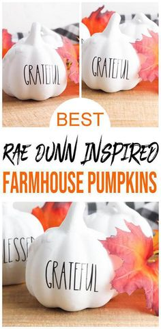 Amazing Fall decor you don't want to pass up. Easy DIY Dollar Store pumpkins inspired by Rae Dunn. Farmhouse pumpkins you can make at home. DIY farmhouse Fall decor to make your home look amazing. Simple & quick DIY crafts tutorial w/ free svg cricut file. DIY Fall decorations to make your bedroom, office, living room, apartment look amazing. Get ready to make the best painted Halloween pumpkins w/ this Dollar Tree hacks. #hacks #halloween #diy Easy Diy Crafts, Diy Craft Projects, Fall Crafts, Craft Tutorials, Thanksgiving Crafts, Thanksgiving Decorations, Holiday Crafts, Craft Ideas, Diy Halloween Decorations