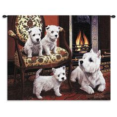 West Highland White Terrier Dog Portrait Art Tapestry Wall Hanging