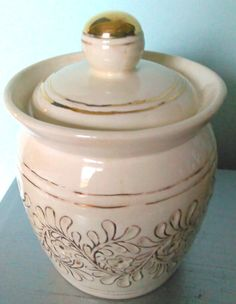 Vintage Cookie Jar Ceramic Canister with Gold Gilt by SparkleSet