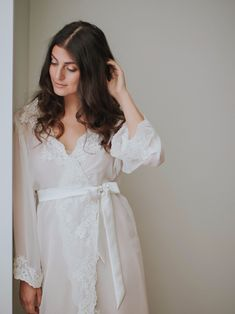 The Valencia Robe is full on, floor-length romance. Goes best with a glass of wine and some candle light. See more here: http://www.davieandchiyo.com/collections/robes-rompers/products/valencia-robe