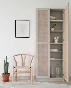 IKEA Billy bookcase hack with custom cane doors Cane Furniture, Ikea Furniture, Burlap Furniture, Office Furniture, Ikea Billy Bookcase Hack, Billy Bookcases, Billy Bookcase With Doors, Ikea Billy Hack, Billy Bookcase Office