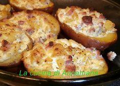 Patate ripiene con panna acida e pancetta