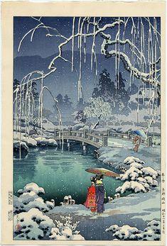 Tsushima Koitsu, Spring Snow at Maruyama Park - Kyoto, (1936) c.1948