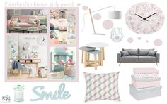 Planche tendance girly pastel - VB HOME Conception 3d, 3d Home, Pastel, Decoration, Decor Interior Design, Sweet Home, Gallery Wall, Girly, Living Room