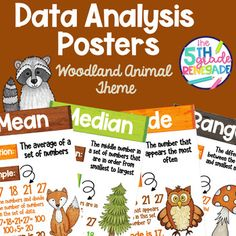This product contains 4 Data Analysis posters with a Woodland Animal theme:meanmedianmoderangeMatching Language Arts Products: Reading Genre Posters, Reading Genres, Mean Median And Mode, Commonly Confused Words, Woodland Animals Theme, Types Of Sentences, Math Poster, Figurative Language, My Tea