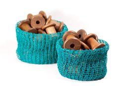 Paper Twine Knit Basket (Medium) by PaperPhine Easy Knitting, Loom Knitting, Knit Basket, Diy Kits, Twine, Cotton Linen, Diy Design, Craft Supplies, Knit Crochet