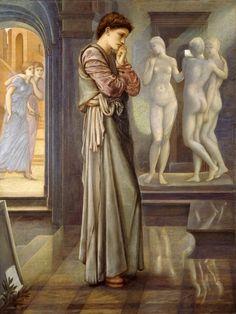 The Heart Desires, Pygmalion (I of IV), Second Series (1875-78). Edward Burne-Jones (English, 1833-1898). Oil on canvas. Birmingham City Museums & Art Gallery.