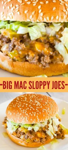 Big Mac Sloppy Joes are an easy ground beef dinner recipe perfect for weeknights. These sloppy joes are loaded with onions, pickles and cheddar cheese all tossed in a copycat Big Mac Sauce. with ground beef Big Mac Sloppy Joes - This is Not Diet Food Dinner With Ground Beef, Le Diner, Beef Dishes, Quick Meals, Easy Meals For Dinner, Easy Summer Dinners, Super Easy Dinner, Big Meals, Tossed