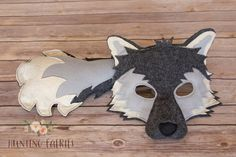 Amadeus the Arctic Wolf Mask and Tail Pretend Play Costume Woodland