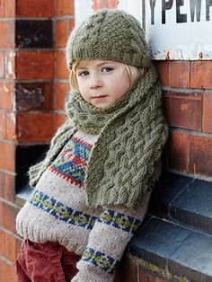 Cosy Hat and Scarf from Once Upon a Time by Marie Wallin 16 handknit designs for children aged 2 to 10 years. Once Upon a Time is a celebration of British traditional handknits with a hint of crochet. Inspired by the vintage patterning of the 1940's and 1950's, these modern and classic fit garments are perfect projects for mums and grandmas alike and fun for kids to wear too   English Yarns