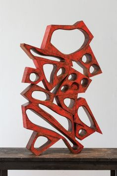 Mel Kendrick Untitled, 2015 Mahogany and Japan color 39 x 24 x 5 inches Steel Sculpture, Sculpture Clay, Abstract Sculpture, Contemporary Sculpture, Contemporary Art, Koi Art, Outdoor Sculpture, Public Art, Creative Art