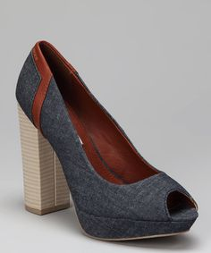 Take a look at this Dark Blue Vergie Open-Toe Pump on zulily today!