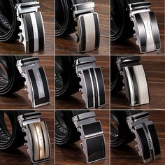 9 Choices Fashion Black Genuine Leather Dress Auto Lock Buckle Mens Belts New Fashion Black, Mens Fashion, Choice Fashion, Men Wear, Kinds Of Clothes, Man Style, Belt Buckles, Black And Brown, Belts
