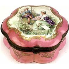 Fine 19th C. Porcelain Dresser Box Bottom Marked Hand Painted