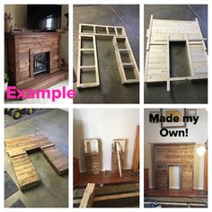 Made my own diy faux fireplace mantel mantle from pallet wood.