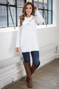 Take It Up A Notch Cowl Neck Sweater - Ivory
