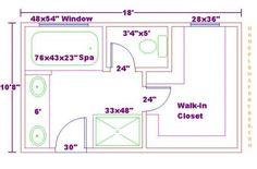 bathroom and closet floor plans | ... Free 10x18 Master Bathroom Addition Floor Plan with Walk-in Closet