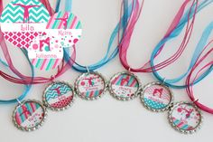 Gymnastics Birthday Party Favors - Gymnastic Party - Gymnastics Necklaces - Set of 6 - Free Customization - SWANK Collection