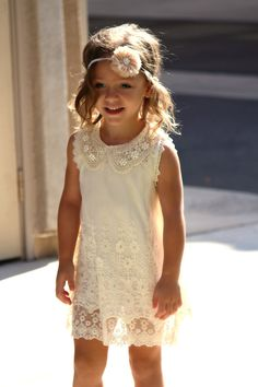 SALE! Cotton lining Pearl lace collar beige ivory vintage wedding party flower girl embroidered princess dress sizes 3,4,5,6 IN STOCK on Etsy, $32.00