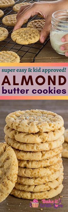 These easy Almond Butter Cookies are soon to be your new favorite above the classic peanut butter cookie! The amazingly flavorful cookie is packed in an equally wonderful chewy texture! Perfect for everyday and holiday cookie baking, and loved by anyone with peanut allergies! bakeitwithlove.com   #bakeitwithlove #almondbuttercookies #easy #recipe #best #peanutfree #almondflour #chewy #GF #soft #honey #tasty #bestever #simple #favorite Delicious Cookie Recipes, Best Cookie Recipes, Baking Recipes, Holiday Recipes, Classic Peanut Butter Cookies, Almond Butter Cookies, Almond Flour Recipes, Peanut Butter Recipes, Homemade Cookies