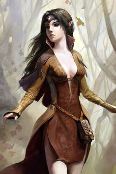 girl, wood, elf, autumn