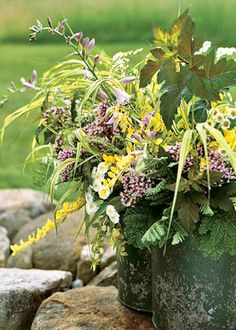 I love bouquets with foliage -- adding a branch of leaves or some ferns or grass is just lovely.