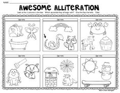 """Awesome Alliteration"" {From A to Z} ""Lift the Flap"" Activity! Library Activities, Autism Activities, Writing Activities, Language Activities, Classroom Activities, Printable Preschool Worksheets, Kindergarten Worksheets, In Kindergarten, Free Printable"