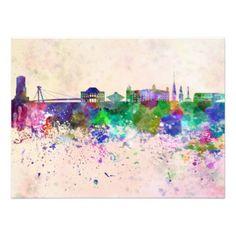Bratislava skyline in watercolor background photo print