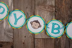 Monkey Happy Birthday Banner (Large) - Yellow & Aqua Blue