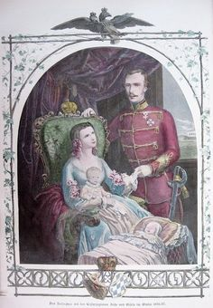 Franz Josef and Elisabeth with two children: Gisela and either Sophie or Rudolf.