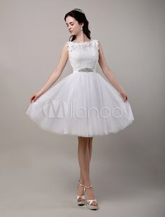 A-Line/Princess Knee-Length Lace Bodice Tulle Wedding Dress With Beading Sequins Sash - Milanoo.com