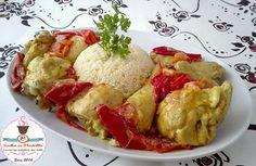 Galletto al curry con cous cous e peperoni, veloce, facile, economico, sano, speziato, India, Vallespluga, cipolla, olio, panna, brodo, in padella, autunno,