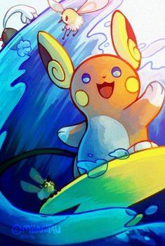 alolan raichu is just oh my god. i need it i neeeeEEEED ONE surfer raichu feat. pyukumuku, cutiefly, and a (shy) wishiwashi please just give me this gam. Pokemon Go, Pokemon Memes, Pokemon Fan Art, Fanart Pokemon, Pokemon Champions, Cute Pokemon Wallpaper, Pokemon Special, Pokemon Pictures, Moon Art