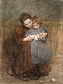 Hendrik Johannes Havermans 1857-1928. Moeder leert kind breien 1898.