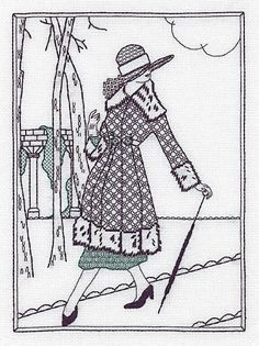 Lady In The Park Blackwork Kit by Holbein Embroideries