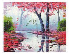 OTOÑO lago de pintura al óleo pintura arte por GerckenGallery