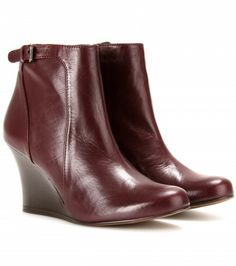 Lanvin - Leather wedge ankle boots
