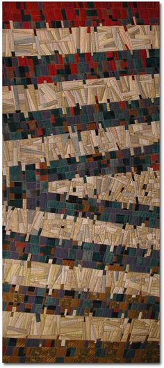"""Crow Juxta    27"""" x 68½""""  Started in a Nancy Crow Class  Machine Pieced  Machine Quilted  Facing Binding  Commercial and Hand Dyed Fabrics    http://www.tommysartquilts.com/crowjuzta.htm"""