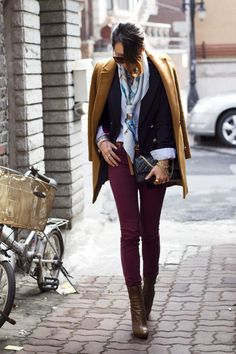 TAWNY PRADA BOOTS   BURNT ORANGE CLUB MONACO COAT  MAROON URBAN OUTFITTERS JEANS  LIGHT BLUE HERMES SCARF  BLACK CHANEL BAG