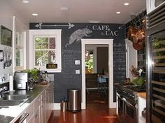 Chalkboard wall for writing the daily menu or even the grocery list.