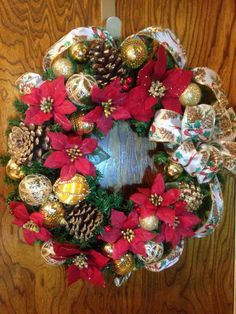 Poinsettia Wreath with Golden Pine Cones  Elegant  by LoneStarLucy