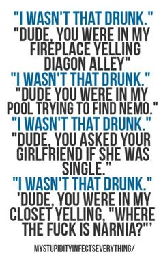 I wasn't that drunk funny-sayings