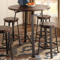 Signature Design by Ashley Challiman Counter Height Pub Table - Bar & Pub Tables at Hayneedle Pub Table And Chairs, Round Pub Table, Dining Table, Pub Tables, Dining Sets, Dining Room, Round Bar, Restaurant Tables, Outdoor Patio Bar Sets