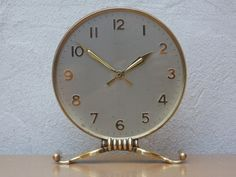 I Like Mike's Mid Century Modern - SEMCA ROUND BRASS & SILVER 8 JEWEL MODERN MANTEL CLOCK Modern Mantel Clocks, Solid Brass, Mid-century Modern, Mid Century, Jewels, Unique Jewelry, Handmade Gifts, Silver, Gold