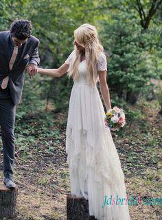 H1535 Romance bohemian flowy chiffon lace wedding dress