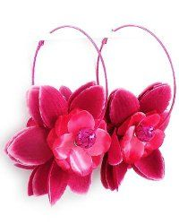 "Pink Tone Pink Fabric Oversize 3.5"" Flower Hoop Clip Back Earrings $18.99 Pammyjfashions.com"