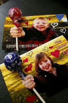 Cute idea for home made St. Valentines Day cards! Take a photo of the kid holding their fist out. Print pictures on card stock. Make a small slit above & below fist. Slide sucker stick through slits. Everyone gets one, so no need for names. Picture let's everyone know who they were from.