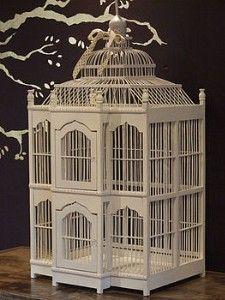grand decorative wooden bird cage looks vintage victorian style - Decorative Bird Cages
